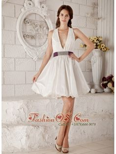 Brand New A-line / Princess V-neck Short Wedding Dress Taffeta Beading Mini-length- $149.46http://www.fashionos.com  http://www.facebook.com/quinceaneradress.fashionos.us  Indulge in the elegance of this striking mini skirt! Pleated material is stretched over the sweetheart bodice and over straps, where a glitzy adornment adds sophistication. A broad, brilliantly glittering and contrasting waistband breaks things up nicely.