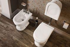 Come scegliere i sanitari - coppia di sanitari a terra classici - wc con cassetta a zaino Ceramica Flaminia Fidia