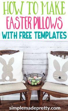 DIY Felt Easter Bunny Banner & Fabric Easter Bunny Pillow Decor : DIY easter pillows with free template Cute Diy Projects, Easter Projects, Bunny Crafts, Easter Crafts, Diy Osterschmuck, Home Crafts, Diy Crafts, Fabric Crafts, Easter Pillows