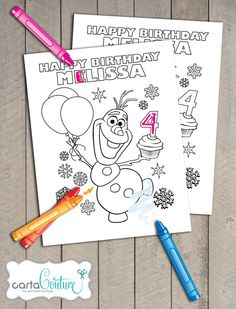 Frozen Disney Printable Personalized Olaf Birthday Coloring Page File by Carta Couture