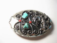 Vintage Southwestern  Silvertone Turquoise & Coral Rodeo Rider Belt Buckle #Unbranded
