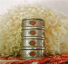 Turkoman Antique Gilded Silver and carnelian Teke Tribe Large Cuff Bracelet | from Afghanistan | One of a matched pair of bracelets dated to 1850-1900 by Dieter and Reinhold Schletzer in Old Silver Jewellery of the Turkoman.