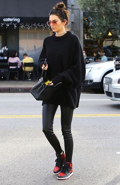 Oversized Sweater + Sonix Lodi Sunglasses ($79) + Frasier Sterling Heart of Glass Choker ($77) + Hermes Bag + J Brand Edita Leather Leggings ($948) + Nike Sneakers (The #1 Kendall Jenner Outfit for Lazy Girls Who Want to Look Cute via @WhoWhatWear)