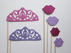 Photo Booth Prop Set  - Glittered Princess. Photo Booth Props - Princess Parties, Birthdays, Weddings, - Photobooth Props. Set of Six via Etsy