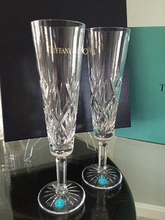 Tiffany Co Cut Crystal Champagne Flutes Sybil Weddding Toasting Gles New