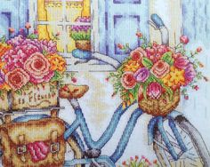Close up of stitching of my bicycle design. Tapestry Design, Bicycle Design, Cross Stitching, Cross Stitch Patterns, Embroidery, My Favorite Things, Artwork, Painting, Cross Stitch Embroidery