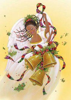 Black Christmas, Christmas Is Coming, Christmas Angels, Vintage Christmas, Christmas Cards, Christmas Stuff, Black Women Art, Black Art, Happy New Year Images