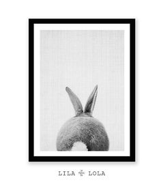 Rabbit Print Rabbit Butt Tail Black and White Animal by LILAxLOLA