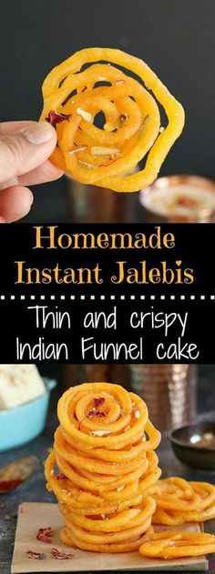 Sinfully sweet and delicious, spiral shaped Indian fun… Homemade Instant Jalebis. Sinfully sweet and delicious, spiral shaped Indian funnel cake is an addictive festive sweet. Indian Desserts, Indian Sweets, Indian Dishes, Indian Food Recipes, Easy Indian Dessert Recipes, Sweets Recipes, Cooking Recipes, Vegan Recipes, Gourmet