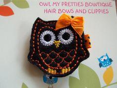 HALLOWEEN Black Orange Felt OWL Hair Clip Baby by OwlMyPretties, $3.75