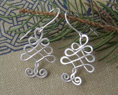 Celtic Tree Sterling Silver Wire Earrings ,Christmas Tree, Celtic Jewelry, Holiday, Tree of Life. $22.00, via Etsy.
