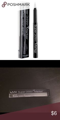 NYX Super Skinny Eye Marker NEW & Unopened NYX Super Skinny eye marker, new and unopened.  I put together my favorites packages for my clients, and often have extra products that I sell on here! I price my items lower to accommodate for shipping. I'm open to reasonable offers, especially if you're bundling with other items - you'll pay the same in shipping if you buy one or multiple items from my closet!All the funds go to the non-profit organization I'm founding 💜 NYX Makeup Eyeliner