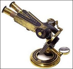 Antique brass microscopes