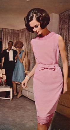 Jean Allen Fashion 1965 pink sheath dress bow belt beaded sleeveless wiggle mid 60s MCM mid century modern hairstyle photo print ad vintage fashion style model magazine mad men