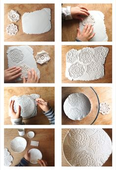 Air Dry Clay Embossed Bowls using crochet, shells, pine cones, wooden modelling tools.