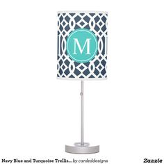 Navy Blue and Turquoise Trellis Custom Monogram Table Lamps