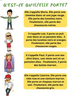 Qu'est-ce qu'il-elle porte? - Interactive worksheet French Worksheets, Verb Worksheets, French Language Lessons, French Lessons, French Revision, Find A Tutor, French Clothing, French Outfit, French Grammar