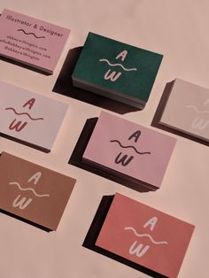 Branding | Keeping the brand aesthetic consistent and fun, business cards are printed in a handful of colour combos on good quality recycled stock. (Featured on Printed.com)