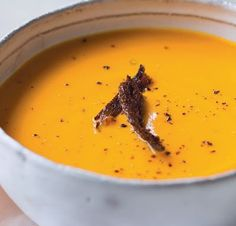 sweet potato soup with pumpernickel croutons recipe | I love my food