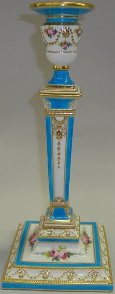 """*MINTON'S PORCELAIN CANDLESTICK Blue and white with floral and gilt decoration, marked on bottom and numbered each 3252, approximate height 11 1/2""""."""