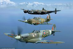 The historic squadron that performs at air shows today consists of six Spitfires, two Hurricane Mk one Lancaster bomber, a Dakota and two Chipmunk training aircraft Ww2 Aircraft, Fighter Aircraft, Military Aircraft, Fighter Jets, Lancaster Bomber, The Spitfires, Supermarine Spitfire, Ww2 Planes, Aviation Art