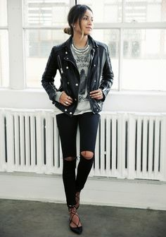 ACNE STUDIOS sweatshirt TOPSHOP moto skinny jeans ANINE BING leather moto jacket AQUAZZURA...
