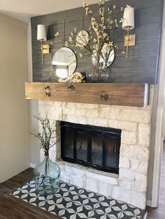 In this post I'm sharing several steps on how to update a fireplace. Limewash stone, Stenciled tile, How to shiplap, Painted shiplap, grey b. Painted Stone Fireplace, Paint Fireplace, Bedroom Fireplace, Home Fireplace, Fireplace Remodel, Brick Fireplace, Fireplace Design, Fireplace Mantels, Fireplaces