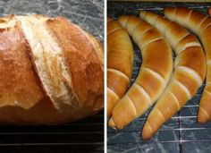 Bread, rolls and croissants (from a dough) Healthy Homemade Bread, Homemade Breads, Croissant Bread, Ciabatta, Croissants, Winter Food, Hot Dog Buns, Baked Goods, Cake Recipes