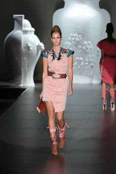 gladiator-esque stiletto sandals: coral ropes laced through pink leather straps ... innovative     (design by Ana Locking, Madrid Fashion Week Spring/Summer 2013, hellomagazine.com)