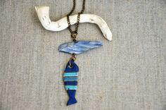 Striped Fish Necklace  Coastal Sea Ocean by OrnamentLounge on Etsy, $30.00 #handmade #sea #ocean #necklace