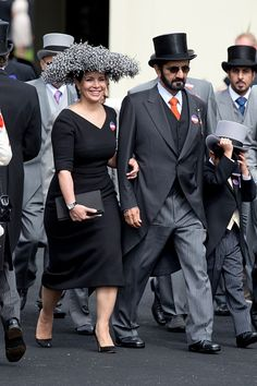 Sheikh Mohammed Bin Rashid Al Maktoum, and Princess Haya bint Al Hussein attend the first day of The Royal Ascot race meeting on June 14, 2016 in Ascot, England.