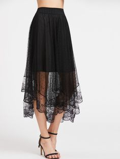 Sheer Dobby Mesh Overlay Skirt  ....... Leave everything the same except for a more modest underskirt  come down to the knees...or side-ruffled thin black yoga pedal pusheers (just below knees IMHO....The lace panel is pretty.  Shein