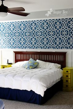 Mandi from Sugar Bee Crafts stenciled a feature wall in her Master Bedroom with our Chez Sheik pattern! Gorgeous!