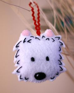 Felt Westie West Highland Terrier Dog Ornament by cockTHEshutter