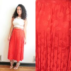 Vintage 1980s 1990s Silk Pleated Skirt