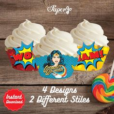 Wonder Woman Cupcake Wrappers Wonder Woman by PaperPlaceRD on Etsy