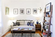 Recycled Denim Rug + Morten Table Lamp + Source Kudu Table Lamp from west elm