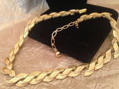 CROWN TRIFARI gold Tone Collar Necklace by GENEVEVES on Etsy