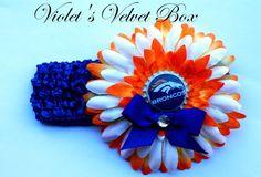 Denver+Broncos+Bow+Headband++Girls+Orange+Blue+by+VioletsVelvetBox,+$8.99