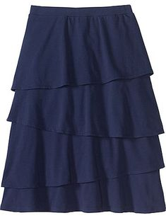 Neutral navy skirt with some ruffles for animation.