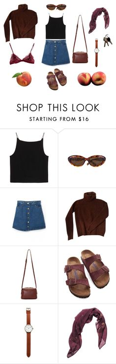 """#21 peaches"" by bbygirrrl ❤ liked on Polyvore featuring T By Alexander Wang, Ted Baker, Fendi, Want Les Essentiels de la Vie, Birkenstock, Tsovet, RVCA, Posh Girl, brown and glasses"