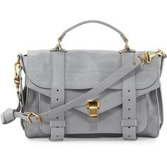 Proenza Schouler PS1 Medium Leather Satchel Bag, Light Gray found on Polyvore
