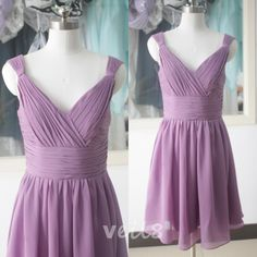Purple chiffon bridesmaid dress short bridesmaid dress knee-length A-line bridesmaid dress bridesmaid dresses