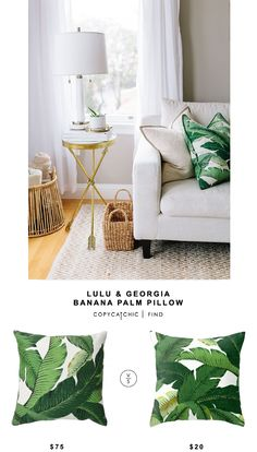 @luluandgeorgia Banana Palm Pillow vs The Pillow Co Green Palm Leaf Pillow $20 | Look for less by Copy Cat Chic