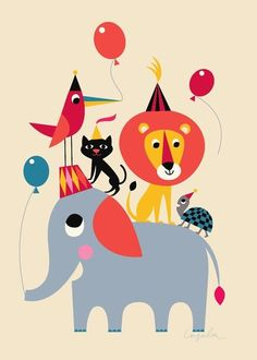 Poster Animal Party van OMM design door Ingela P. Arrhenius - via www.uittnoorden.nl