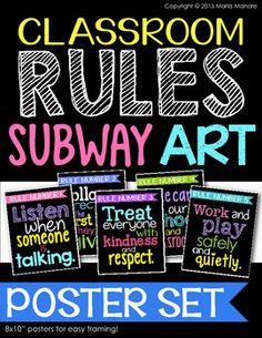 Classroom Rules Subway Art Poster Set