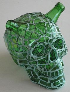 Whiskey & Soda, 2010, A Mosaic Skull by Mexican-born artist Andres Basurto, broken bottles & epoxy putty / Image: Courtesy of Lyons Wier Gallery, New York