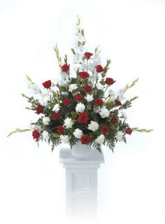 Red white rose pedestal flower arrangement silk flower red and white pedestal arrangementbrctt 20 11 denver co mightylinksfo