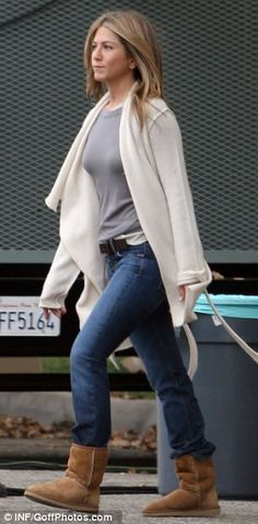 Jennifer Aniston wearing Ugg. Shop our collection here..http://www.seasonsclothing.co.uk/womenswear/ugg
