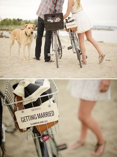 Vintage Bike - save the date! #savethedate #wedding omg with Maggie and Chanel running in the background